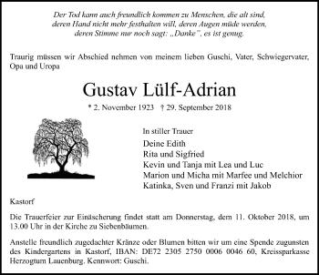 Traueranzeige für Gustav Lülf-Adrian vom 07.10.2018 aus Lübecker Nachrichten