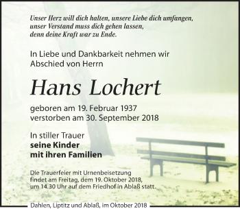 Traueranzeige für Hans Lochert vom 06.10.2018 aus Leipziger Volkszeitung