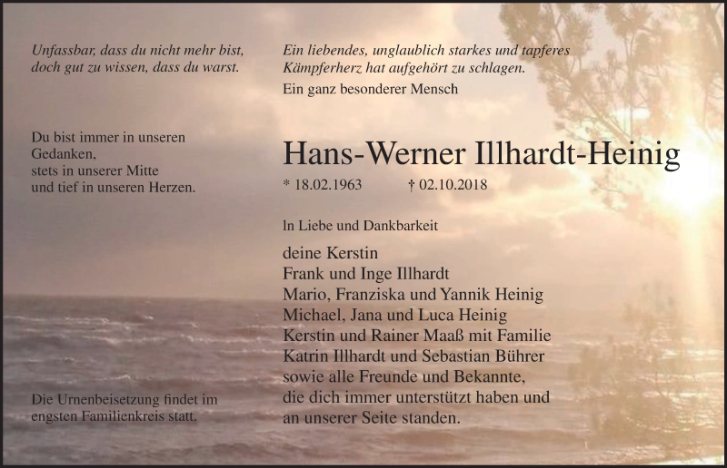 Traueranzeige für Hans-Werner Illhardt-Heinig vom 06.10.2018 aus Ostsee-Zeitung GmbH