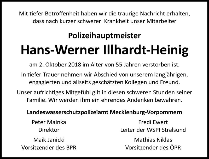 Traueranzeige von  Hans-Werner Illhardt-Heinig
