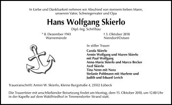 Traueranzeige für Hans Wolfgang Skierlo vom 07.10.2018 aus Lübecker Nachrichten