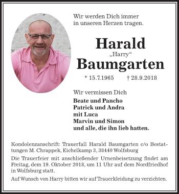 Traueranzeige für Harald Baumgarten vom 12.10.2018 aus Aller Zeitung