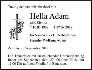 Traueranzeige für Hella Adam vom 06.10.2018 aus Ostsee-Zeitung GmbH