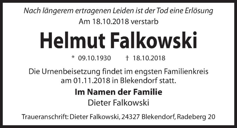 Traueranzeige für Helmut Falkowski vom 27.10.2018 aus Kieler Nachrichten