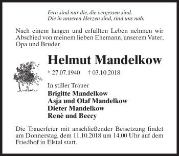 Traueranzeige für Helmut Mandelkow vom 10.10.2018 aus Märkischen Allgemeine Zeitung