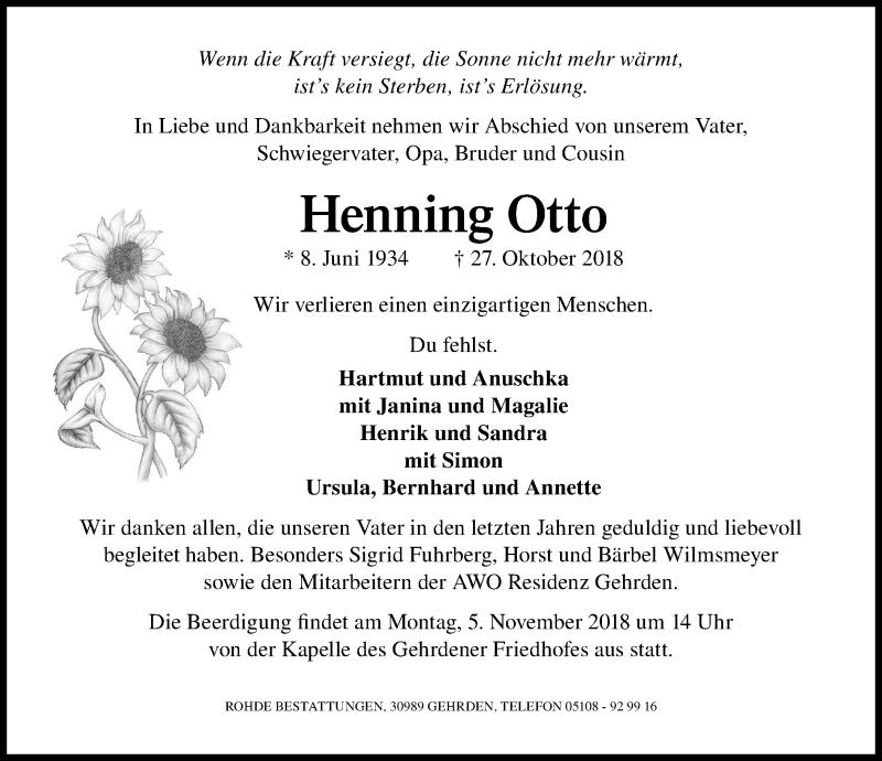 Traueranzeige von  Henning Otto