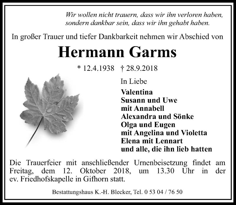Traueranzeige für Hermann Garms vom 06.10.2018 aus Aller Zeitung