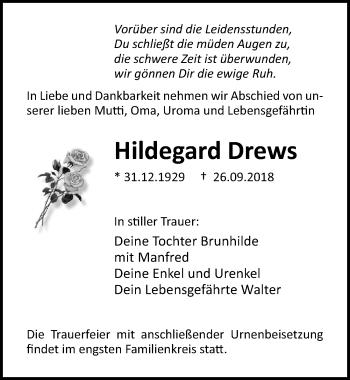Traueranzeige für Hildegard Drews vom 06.10.2018 aus Ostsee-Zeitung GmbH