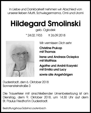 Traueranzeige für Hildegard Smolinski vom 06.10.2018 aus Eichsfelder Tageblatt