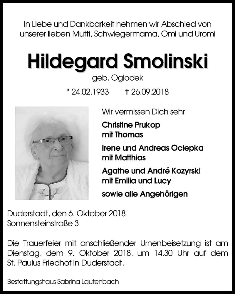Traueranzeige von  Hildegard Smolinski