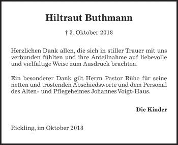 Traueranzeige für Hiltraut Buthmann vom 24.10.2018 aus Kieler Nachrichten