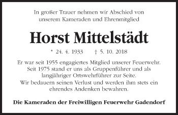 Traueranzeige für Horst Mittelstädt vom 17.10.2018 aus Kieler Nachrichten