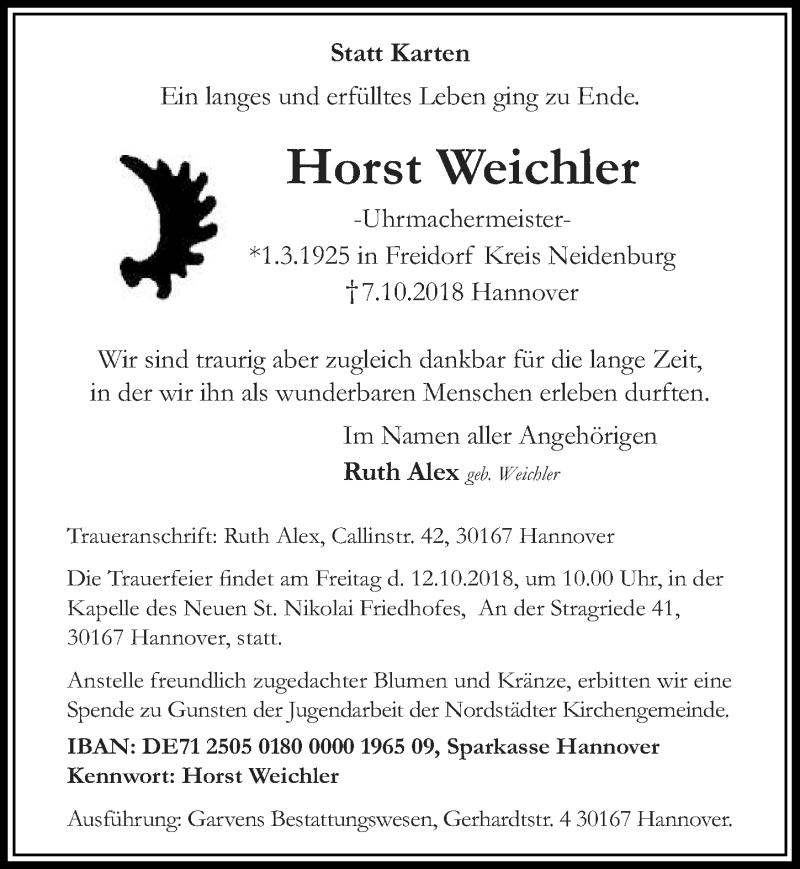 Traueranzeige von  Horst Weichler