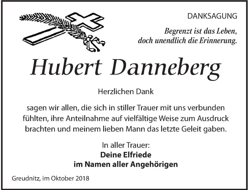 Traueranzeige für Hubert Danneberg vom 27.10.2018 aus Torgauer Zeitung