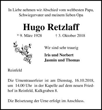 Traueranzeige für Hugo Retzlaff vom 07.10.2018 aus Lübecker Nachrichten