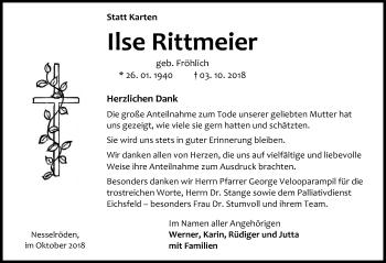 Traueranzeige für Ilse Rittmeier vom 27.10.2018 aus Eichsfelder Tageblatt