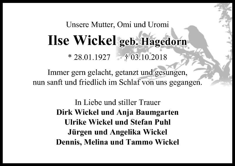 Traueranzeige von  Ilse Wickel