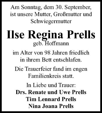 Traueranzeige für Ilse Regina Prells vom 06.10.2018 aus Hannoversche Allgemeine Zeitung/Neue Presse