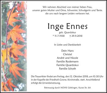 Traueranzeige für Inge Ennes vom 06.10.2018 aus Göttinger Tageblatt