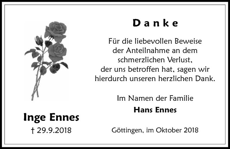 Traueranzeige für Inge Ennes vom 27.10.2018 aus Göttinger Tageblatt