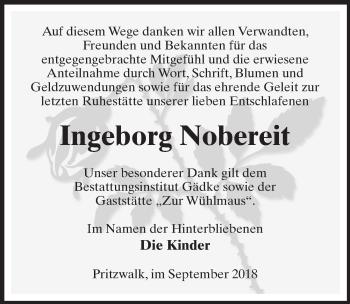Traueranzeige für Ingeborg Nobereit vom 29.09.2018 aus Märkischen Allgemeine Zeitung