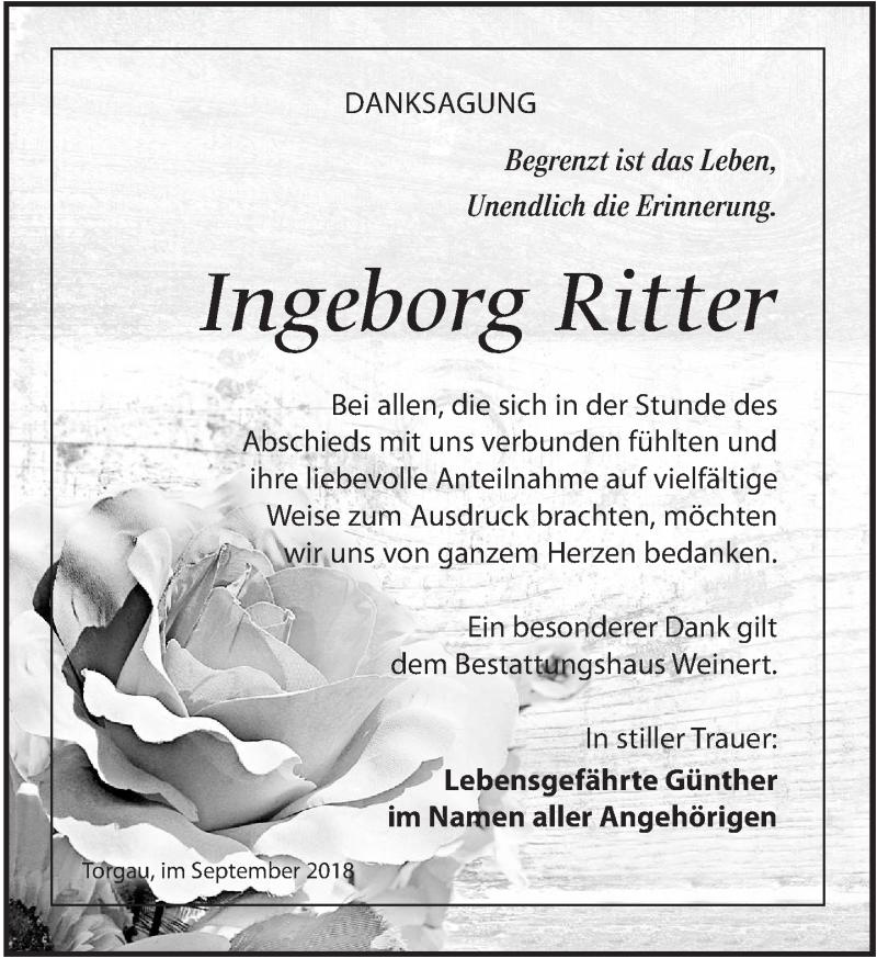 Traueranzeige für Ingeborg Ritter vom 20.10.2018 aus Torgauer Zeitung