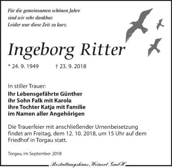 Traueranzeige für Ingeborg Ritter vom 06.10.2018 aus Torgauer Zeitung