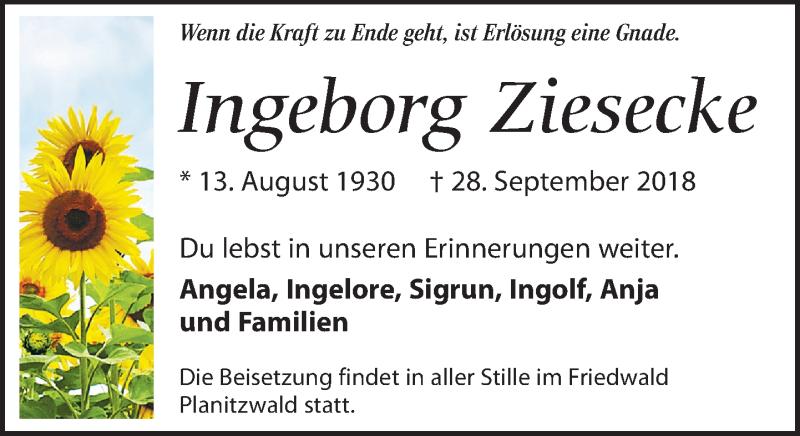 Traueranzeige von  Ingeborg Ziesecke