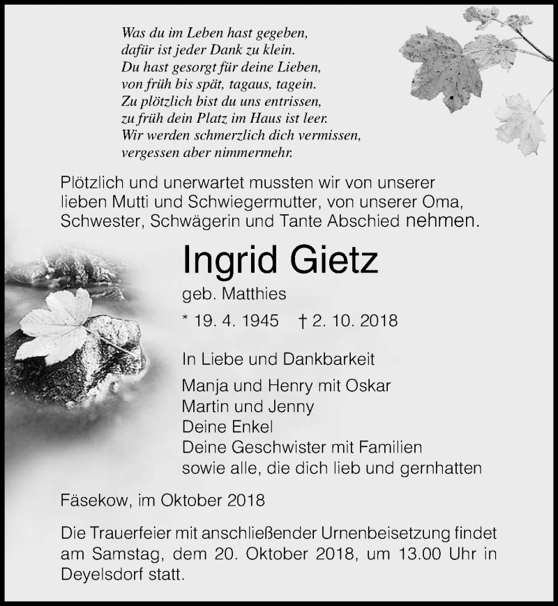 Traueranzeige von  Ingrid Gietz