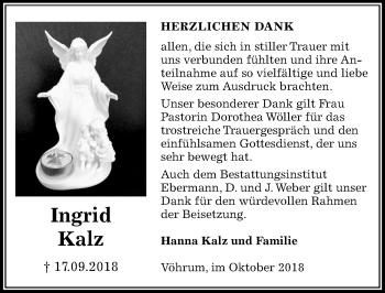 Traueranzeige für Ingrid Kalz vom 27.10.2018 aus Peiner Allgemeine Zeitung