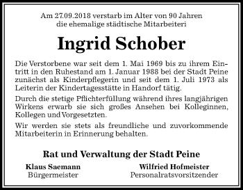 Traueranzeige für Ingrid Schober vom 06.10.2018 aus Peiner Allgemeine Zeitung