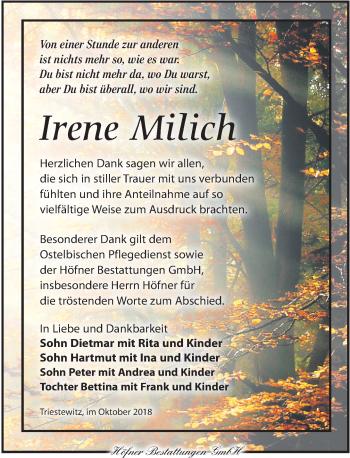 Traueranzeige für Irene Milich vom 27.10.2018 aus Torgauer Zeitung