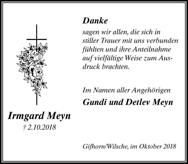 Traueranzeige für Irmgard Meyn vom 27.10.2018 aus Aller Zeitung