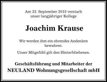 Traueranzeige für Joachim Krause vom 01.10.2018 aus Aller Zeitung