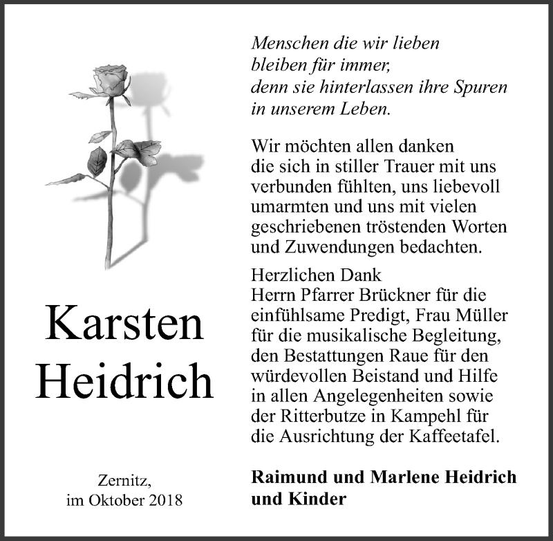 Traueranzeige für Karsten Heidrich vom 20.10.2018 aus Märkischen Allgemeine Zeitung