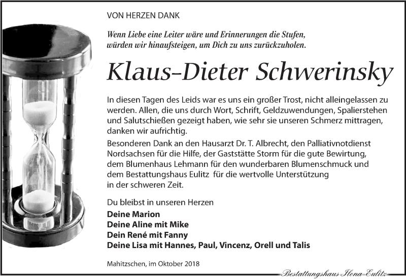 Traueranzeige für Klaus-Dieter Schwerinsky vom 20.10.2018 aus Torgauer Zeitung