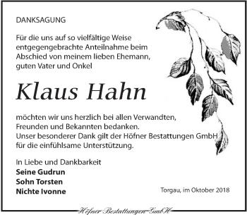 Traueranzeige für Klaus Hahn vom 20.10.2018 aus Torgauer Zeitung
