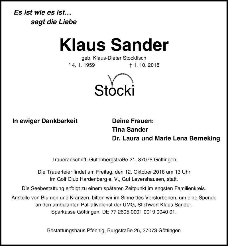Traueranzeige von  Klaus Sander
