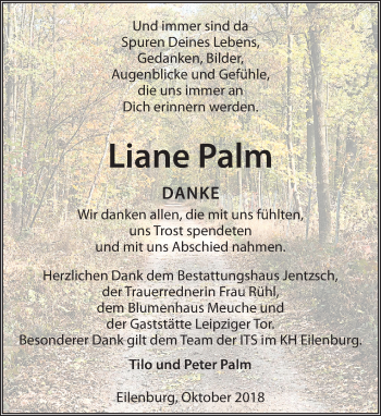 Traueranzeige für Liane Palm vom 27.10.2018 aus Leipziger Volkszeitung