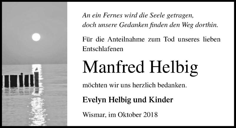 Traueranzeige von  Manfred Helbig