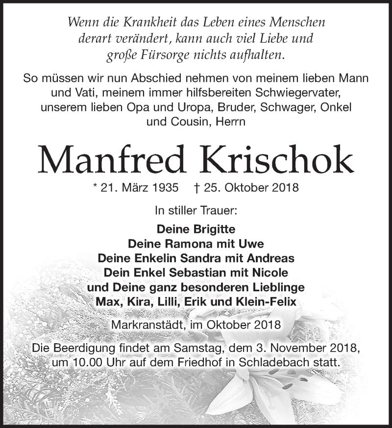Traueranzeige von  Manfred Krischok