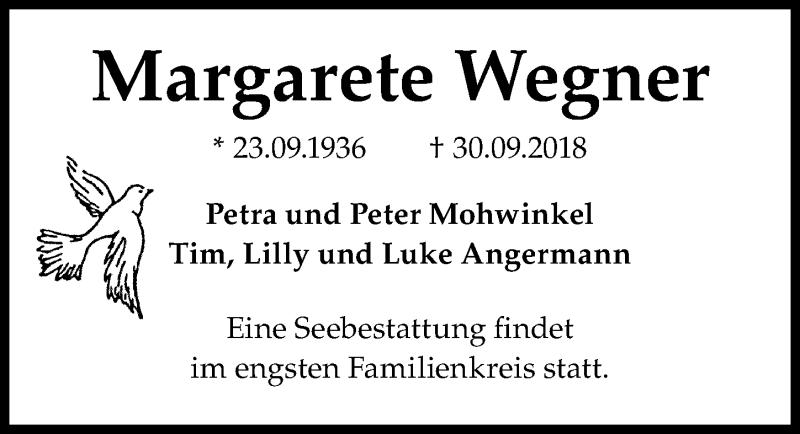 Traueranzeige von  Margarete Wegner