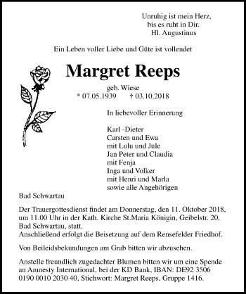 Traueranzeige für Margret Reeps vom 07.10.2018 aus Lübecker Nachrichten