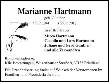 Traueranzeige für Marianne Hartmann vom 06.10.2018 aus Göttinger Tageblatt