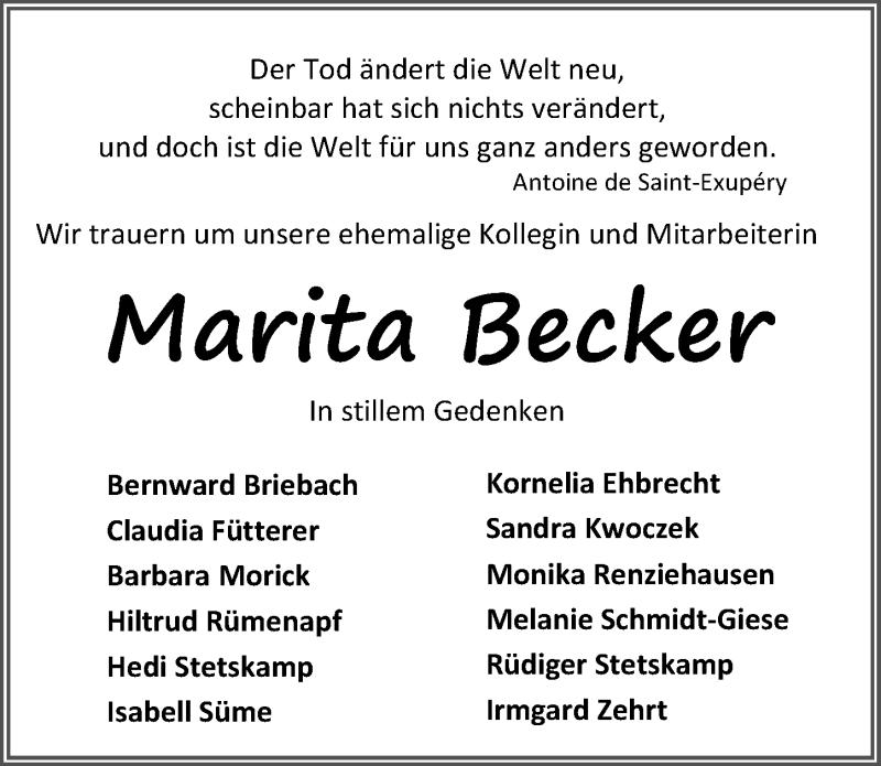 Traueranzeige für Marita Becker vom 06.10.2018 aus Eichsfelder Tageblatt
