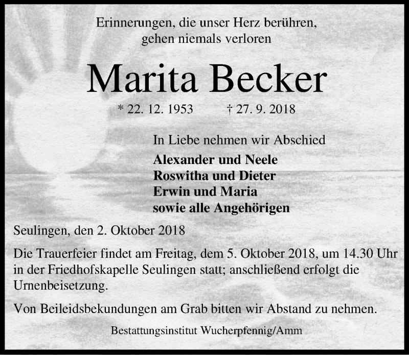 Traueranzeige von  Marita Becker