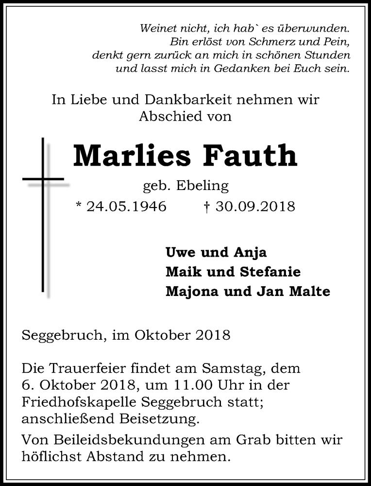 Traueranzeige für Marlies Fauth vom 02.10.2018 aus Schaumburger Nachrichten