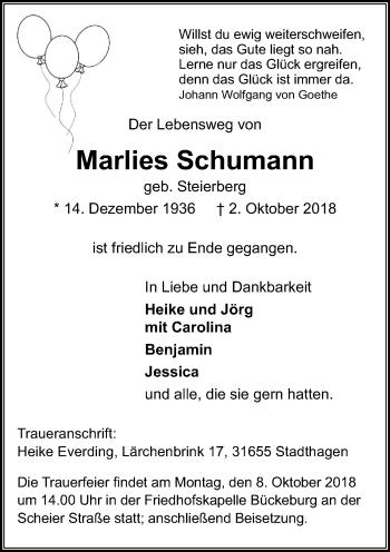 Traueranzeige für Marlies Schumann vom 05.10.2018 aus Schaumburger Nachrichten