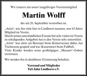 Traueranzeige für Martin Wolff vom 06.10.2018 aus Schaumburger Nachrichten