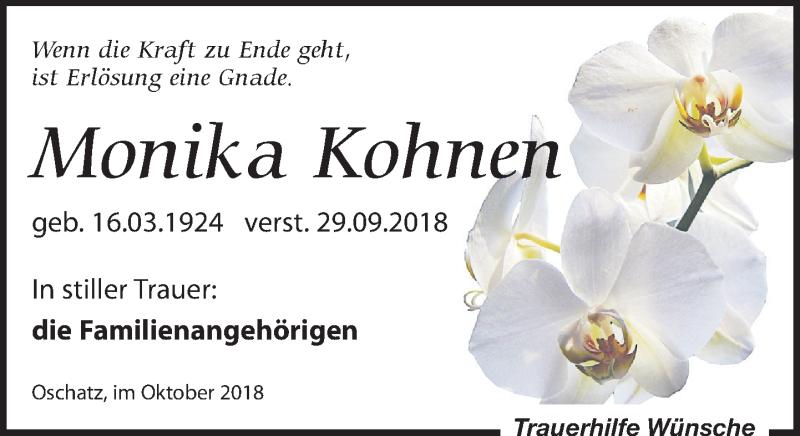 Traueranzeige von  Monika Kohnen